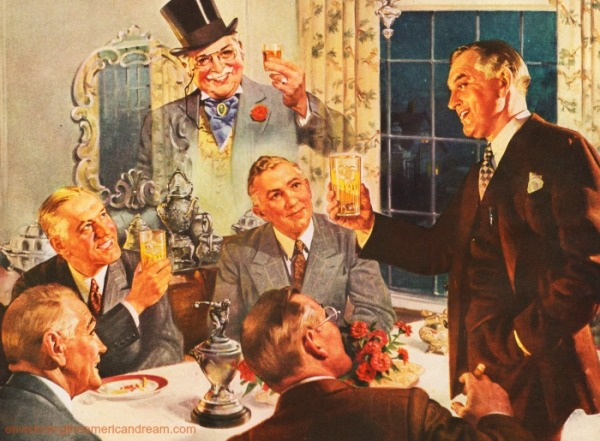 vintage illustration men toasting each other