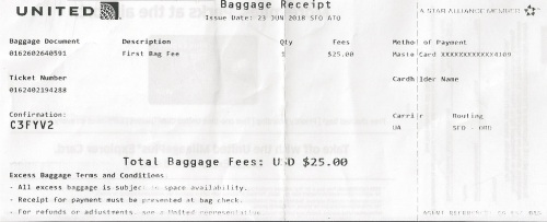 Baggage receipt